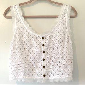 FREE PEOPLE | White Lace Cotton Crop Top SZ M